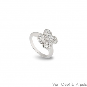 Van Cleef & Arpels White Gold Diamond Trefle Ring